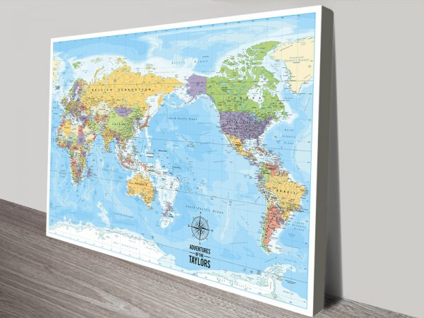 Pacific Centred World-Map Ocean Blue canvas print