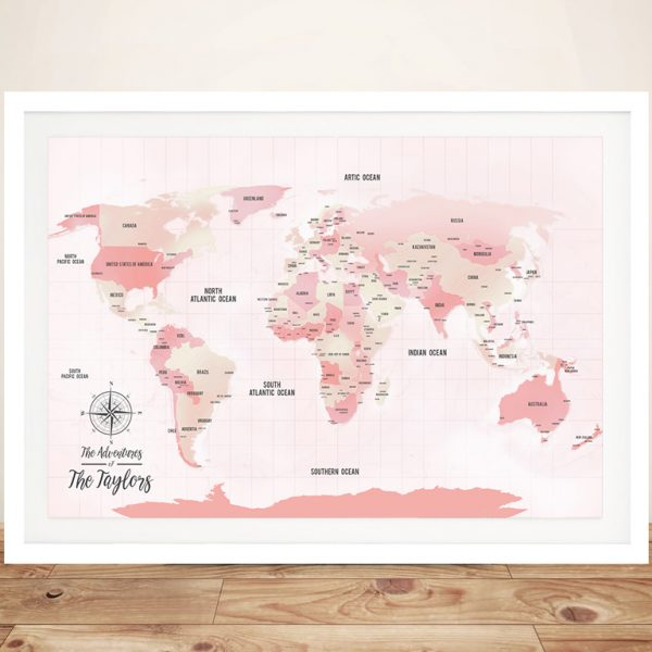 Personalised Pink Shades Custom Push Pin Travel Map
