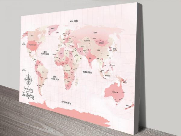 Personalised Pink Customised Push Pin Travel Map Gift
