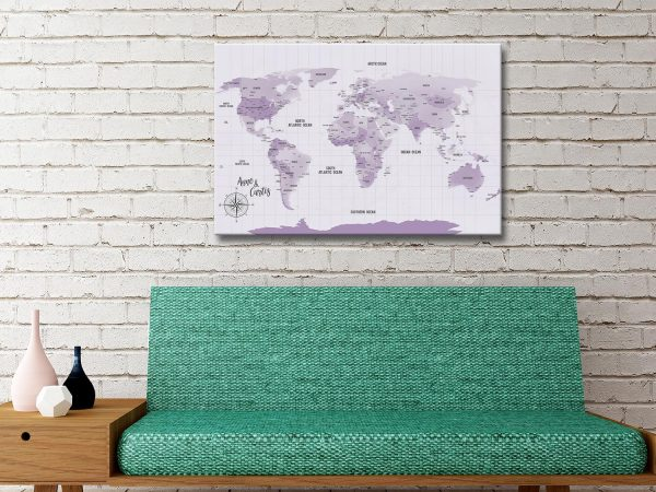 Personalized Purple Pushpin Travel Map Canvas Print Present