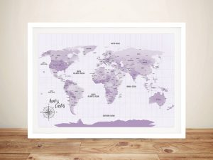 Purple Shades Pushpin Travel Map