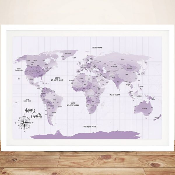 Personalized Purple Pushpin Travel Map
