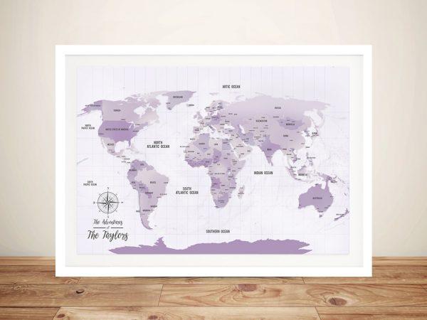 Personalized Purple Pushpin Travel Map