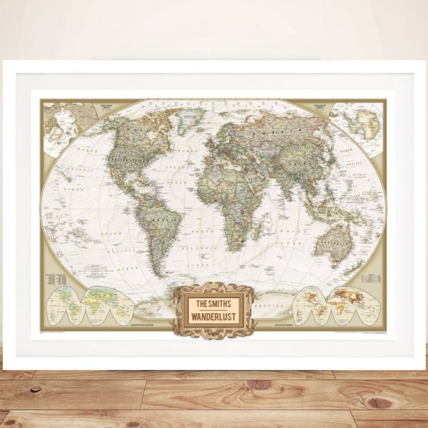 Wanderlust Adventure Map Framed Wall Art