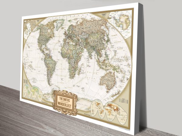 World Travel Map with Push Pins Canvas Print