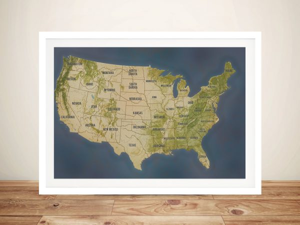 USA Map Art Framed Gift
