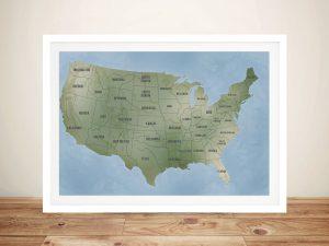 Cyan USA Push Pin Map