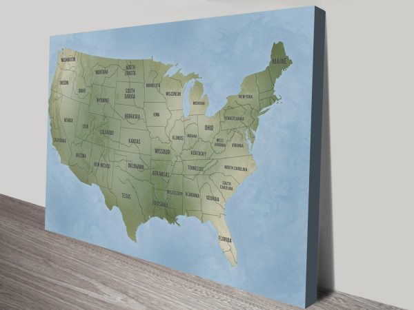 Personalized Push Pin Travel Map America Wall Art