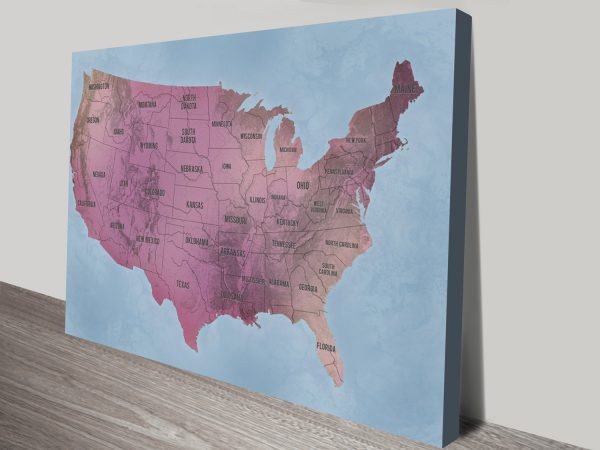 USA Map Art Magenta canvas print with Pins