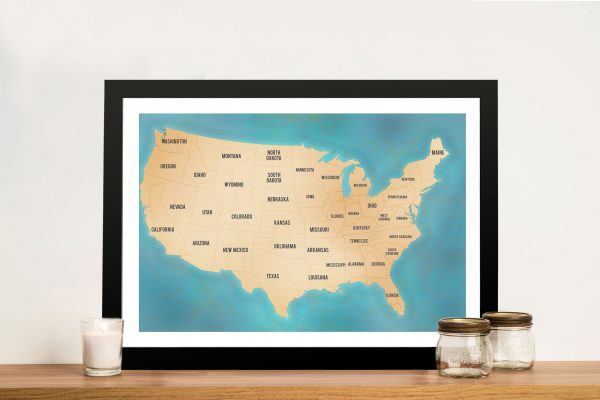USA Pinboard Map Art teal