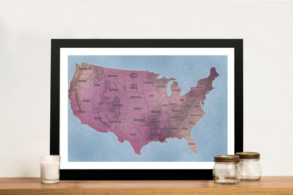 USA Map Art Magenta Framed Pinboard Wall Art