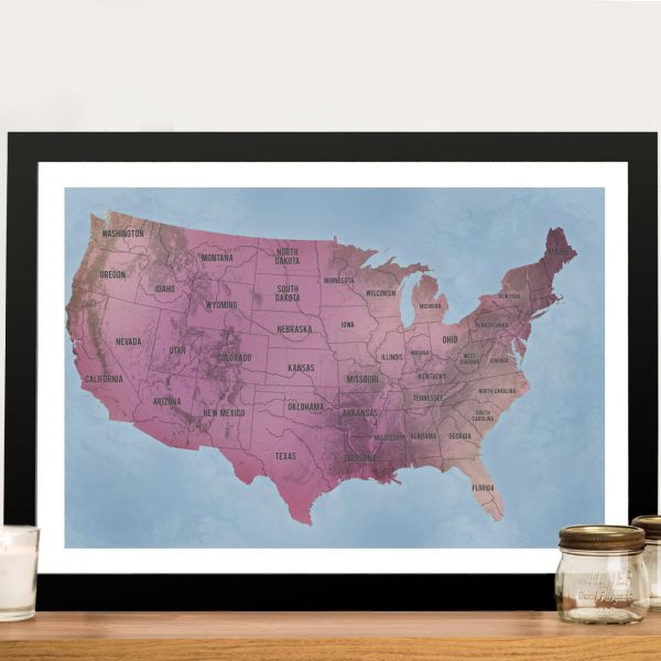 USA Map Art Magenta Framed Pinboard Wall Art