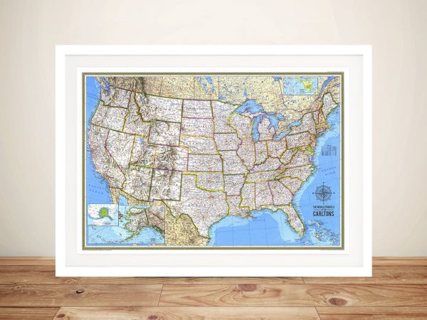 United States Map Push Pinboard Art