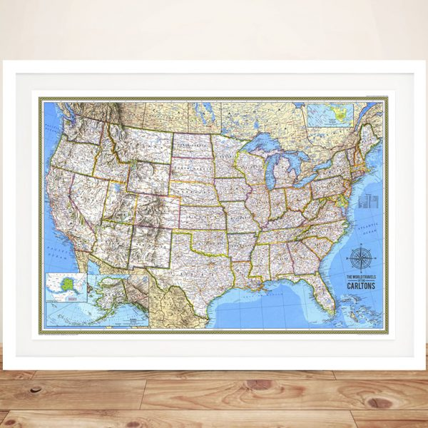 United States Map Push Pinboard Art