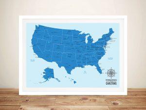 USA Push Pin Map – Oceanic Blue