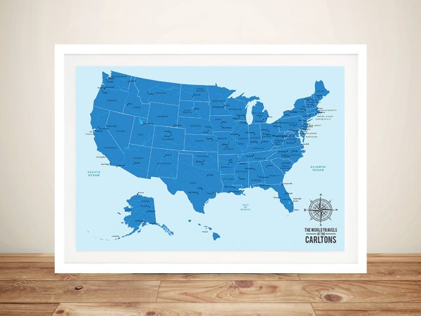 United States Push Pin Travel Map Art