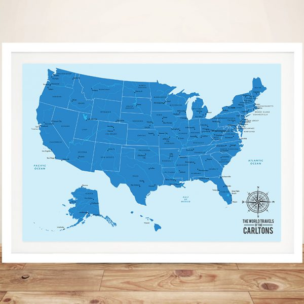 United States Push Pin Travel Map Art