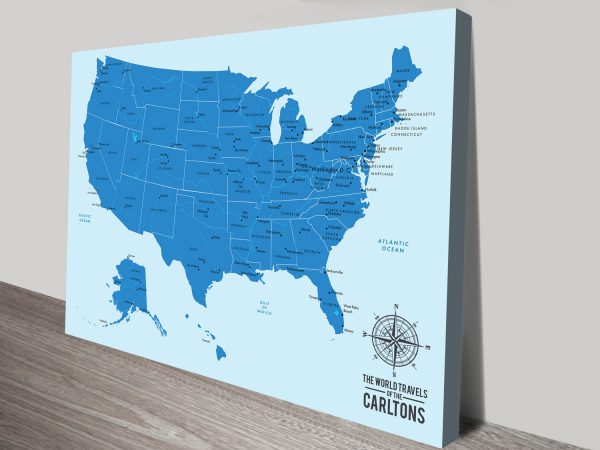 Oceanic Blue Personalized Push Pin Travel Map America