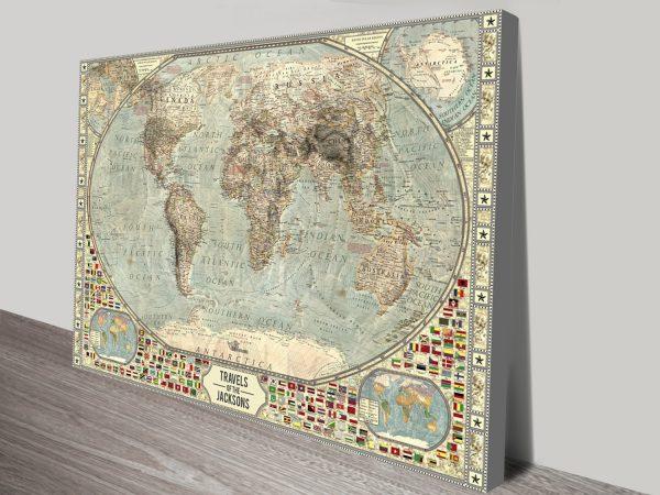 Vintage World Map Pin Art Unique Travel Present Idea