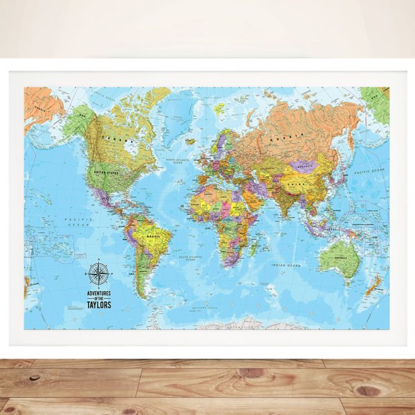 Voyager Personalised Push Pin Travel Map Art