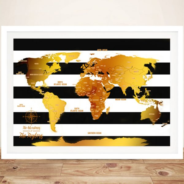 White Stripes And Gold World Map Framed Wall Art
