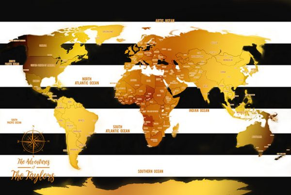 White Stripes And Gold Pinboard World Map