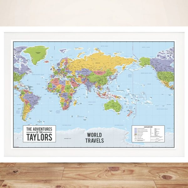 Personalised Australia-Centric World Travel Map