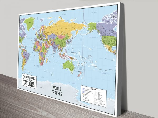 Personalised Australia-Centred Push Pin World Travel Map