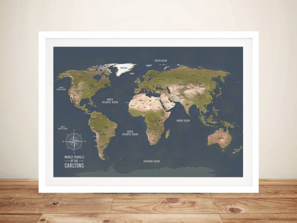 Charcoal Framed Push Pinboard Map Wall Art