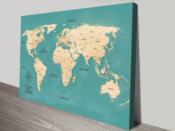 World Map Art with Pins on Cork
