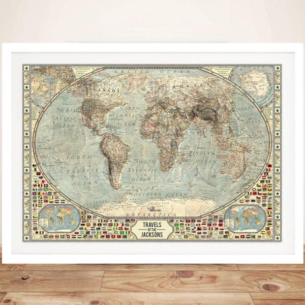 Vintage World Map Pinboard