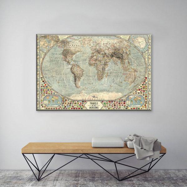 Vintage World Map Pinboard Art Gift Idea