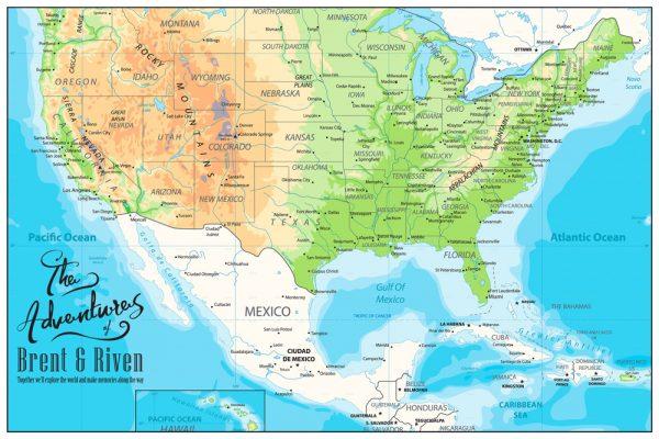 Custom American Adventures Push Pin Map Wall Art Print