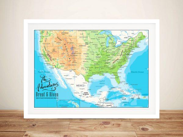 Custom American Adventures Framed Wall Art Print