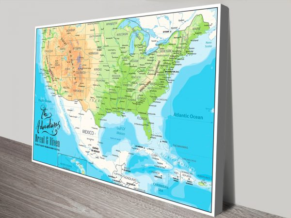 American Adventures Personalized Push Pin Travel Map
