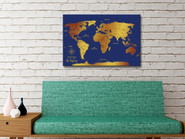 Blue And Gold Pinboard cork World Map Art
