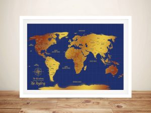 Blue & Gold Personalized World Map