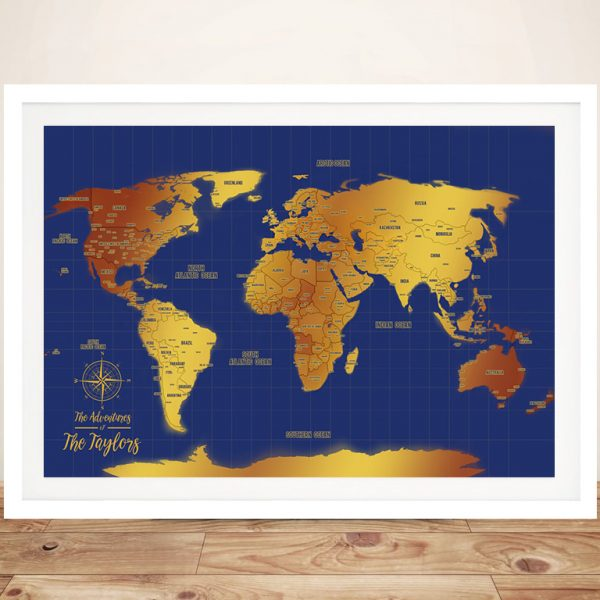 Blue And Gold World Map Framed PinMap Picture