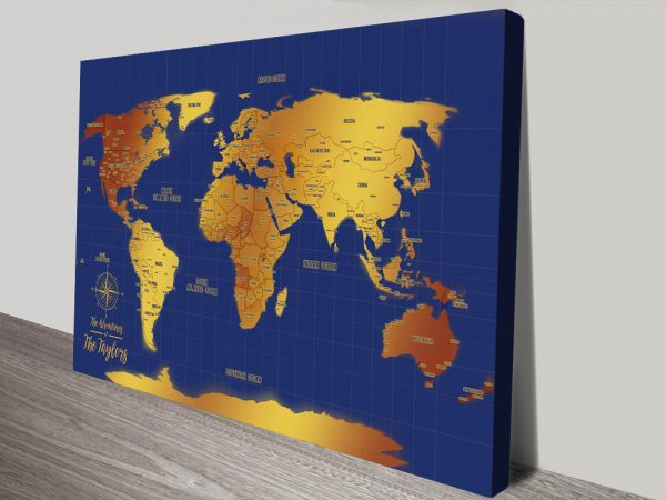 Buy Blue & Gold Personalized World Push Pin Map