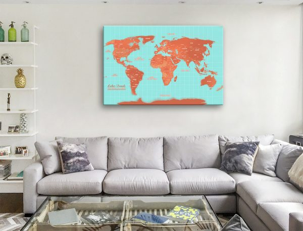 Personalised Turquoise And-Orange World Map Wall Art