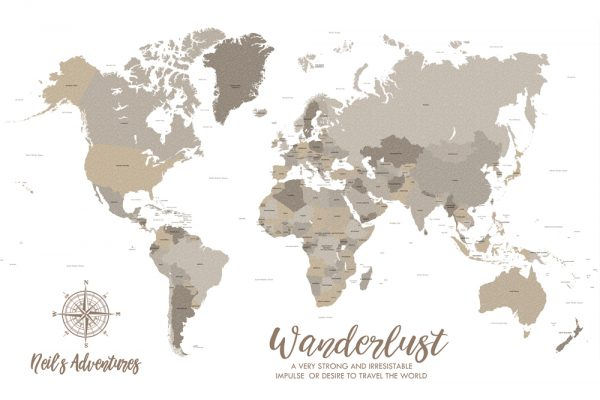 Bronze World Map Art Custom Canvas