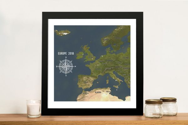 Custom European Map Framed Push Pin Wall Art