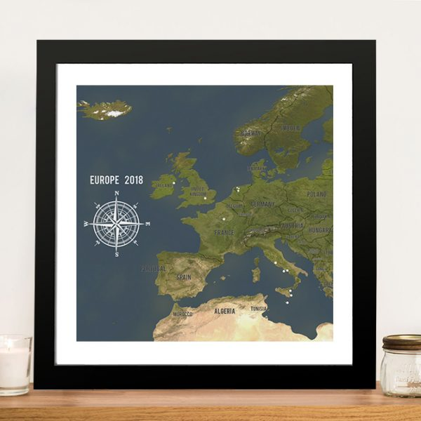Custom European Map Framed Push Pin Wall Art