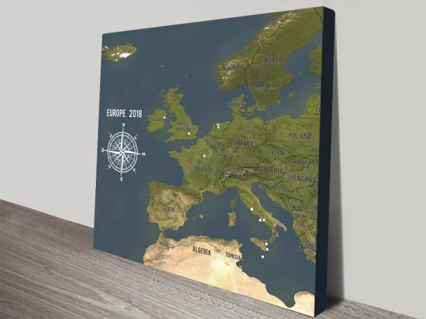 Personalized Western Europe-Map-Charcoal-Framed Push Pin Wall Canvas Print