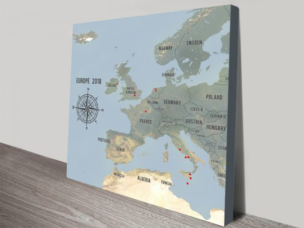 Customized Western Europe Map Cyan Canvas Push Pin Print