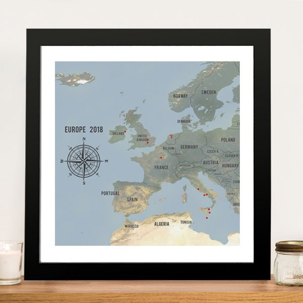 Customized Western Europe Map Cyan Framed Push Pin Wall Art