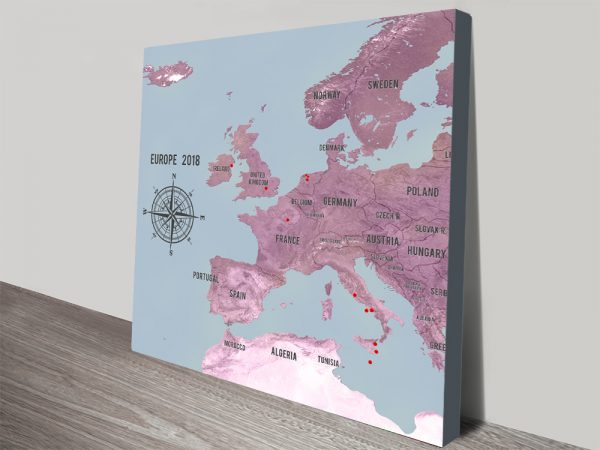 Customized Western Europe Map Magenta Canvas Picture