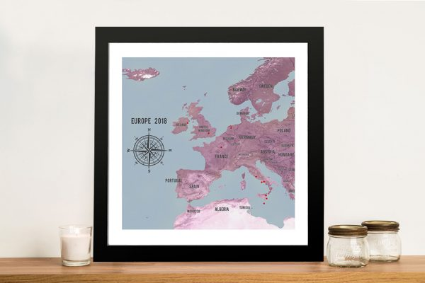 Customized Western Europe Map Magenta Framed Art Poster
