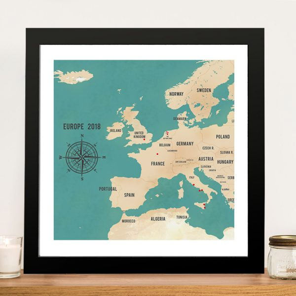 Personalized Western Europe Map Teal Framed Art Print