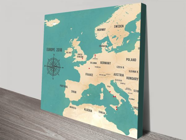 Custom Western Europe Push Pin Travel Map in Teal Green Wall Art